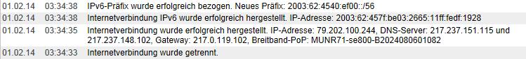 Fritzbox-Protokoll mit IPv4 und IPv6 von der Telekom